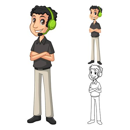 head support: Contact Support Man with Head Phone and Folded Arms Pose Cartoon Character Include Flat Design and Line Art Version Vector Illustration