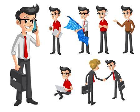 arquitecto caricatura: Conjunto de Negocios Moderno en varias poses personaje de dibujos animados ilustración vectorial