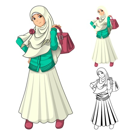 muslim fashion: Muslim Girl Fashion Wearing Veil or Scarf with Holding a Bag and Dress Outfit Include Flat Design and Outlined Version Cartoon Character Vector Illustration