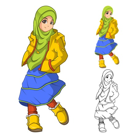 cartoon kid: Muslim Girl Fashion Wearing Green Veil or Scarf with Yellow Jacket and Boots Include Flat Design and Outlined Version Cartoon Character Vector Illustration Illustration