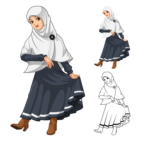 muslim fashion: Muslim Girl Fashion Wearing White Veil or Scarf with Thanks Pose and Black Dress Outfit Include Flat Design and Outlined Version Cartoon Character Vector Illustration