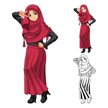 muslim fashion: Muslim Girl Fashion Wearing Red Veil or Scarf with Polka Dots and Skirt Outfit Include Flat Design and Outlined Version Cartoon Character Vector Illustration