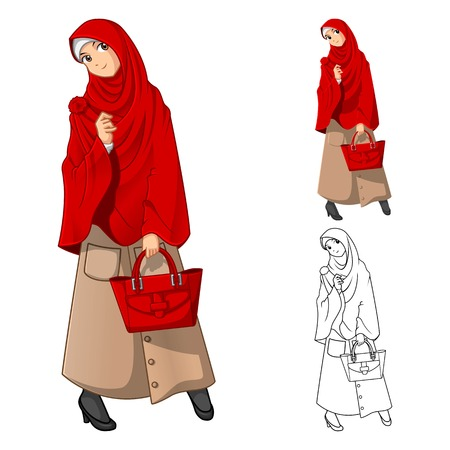woman in scarf: Muslim Woman Fashion Wearing Red Veil or Scarf with Holding a Bag Include Flat Design and Outlined Version Cartoon Character Vector Illustration