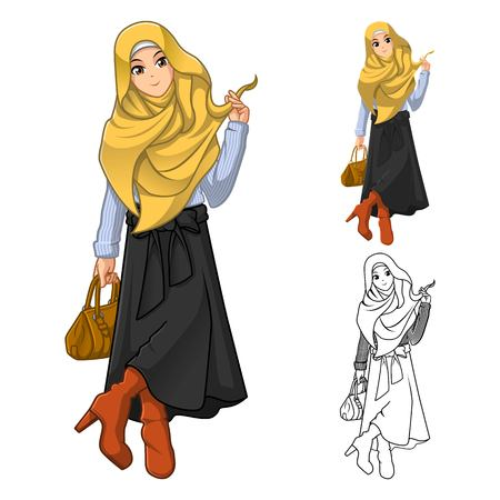 woman holding bag: Muslim Woman Fashion Wearing Yellow Veil or Scarf with Holding a Brown Bag and Stylish Outfit Include Flat Design and Outlined Version Cartoon Character Vector Illustration