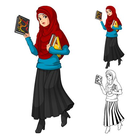 Muslim: Muslim Woman Fashion Wearing Red Veil or Scarf with Holding a Books Include Flat Design and Outlined Version Cartoon Character Vector Illustration