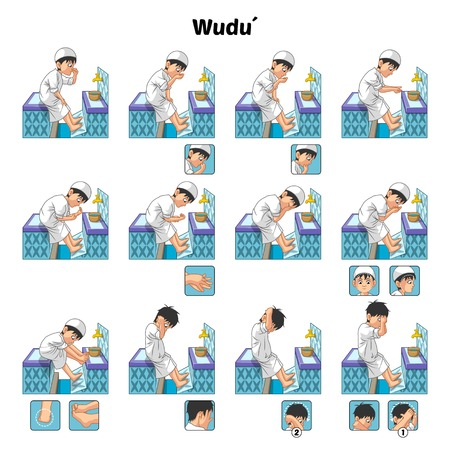 Muslim Ablution or Purification Ritual Guide Step by Step Using Water Perform by Boy Vector Illustration 일러스트