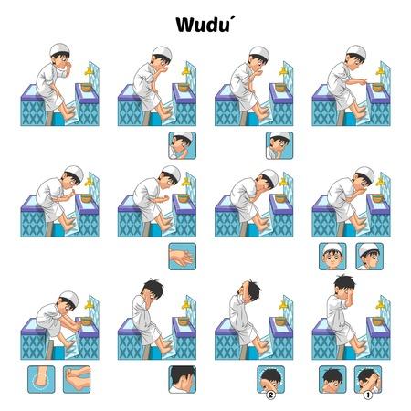 Ablución musulmanes o Guía de purificación ritual Paso a paso Utilizar Realizar Agua por el ejemplo de Vector Boy