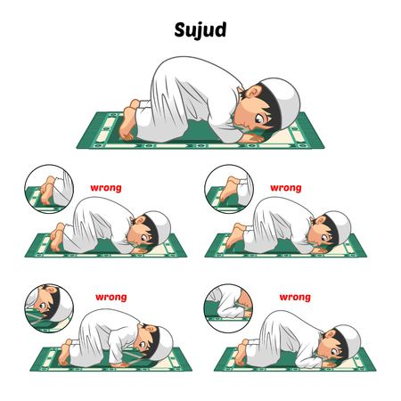 Muslim Prayer Position Guide Step by Step Perform by Boy Prostrating and Position of The Feet with Wrong Position Vector Illustration Vettoriali
