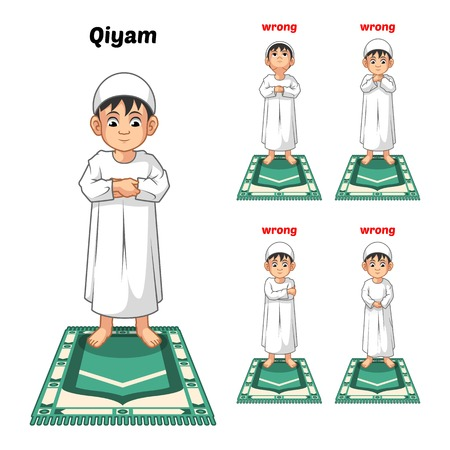 Muslim Prayer Position Guide Step by Step Perform by Boy Standing and Placing Both Hands with Wrong Position Vector Illustration Vettoriali