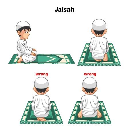 Guía Posición de rezar los musulmanes paso a paso Realice por Boy que se sienta entre los dos, postrados y posición de los pies con la ilustración de vector de posición incorrecto