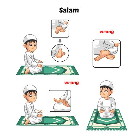 worshiping: Muslim Prayer Position Guide Step by Step Perform by Boy Salutation and Position of The Feet with Wrong Position Vector Illustration