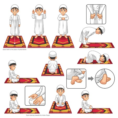 guide: Complete Set of Muslim Prayer Position Guide Step by Step Perform by Boy Vector Illustration