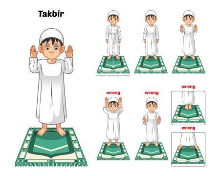 Guía Posición de rezar los musulmanes paso a paso Realice por Boy Permanente y levantar las manos con posición incorrecta ilustración vectorial