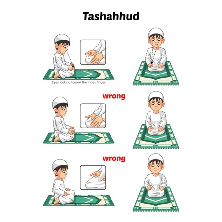 Muslim Prayer Position Guide Step by Step Perform by Boy Sitting and Raising The Index Finger with Wrong Position Vector Illustration Vettoriali