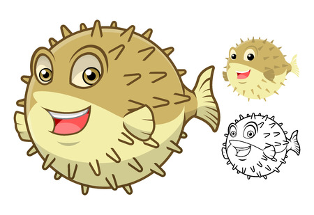 blown: High Quality Puffer Fish Cartoon Character Include Flat Design and Line Art Version Vector Illustration