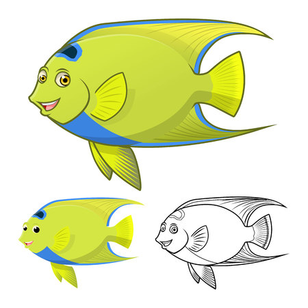 queen of angels: High Quality Queen Angel Fish Cartoon Character Include Flat Design and Line Art Version Vector Illustration