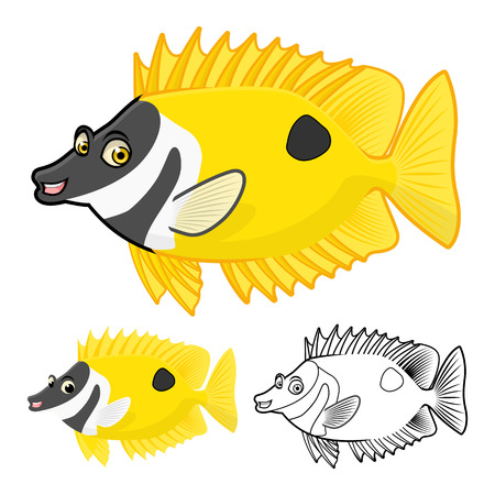 black yellow: High Quality Rabbit Fish Cartoon Character Include Flat Design and Line Art Version Vector Illustration Illustration