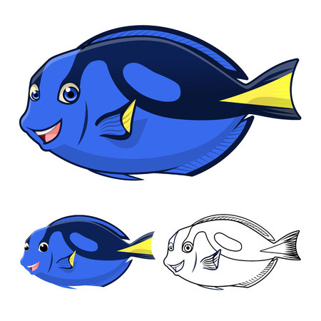 blue tang fish: High Quality Regal Blue Tang Cartoon Character Include Flat Design and Line Art Version Vector Illustration Illustration