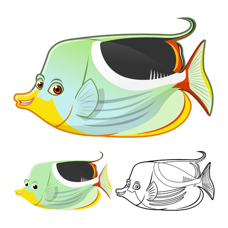 saddle: High Quality Saddle Butterfly Fish Cartoon Character Include Flat Design and Line Art Version Vector Illustration