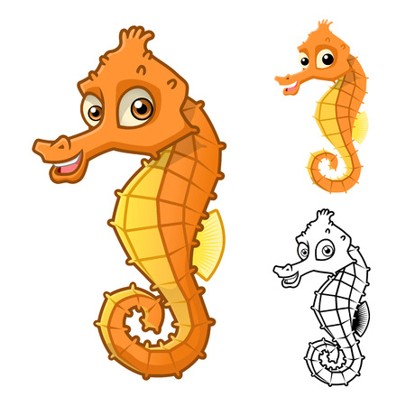 high sea: High Quality Sea Horse Cartoon Character Include Flat Design and Line Art Version Vector Illustration