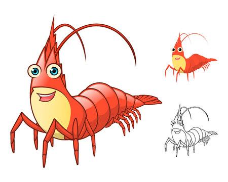 Cartoon de crevettes de haute qualité Caractère Inclure design plat et Art Ligne Version Vector Illustration