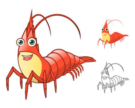 High Quality Shrimp Cartoon Character Include Flat Design and Line Art Version Vector Illustration