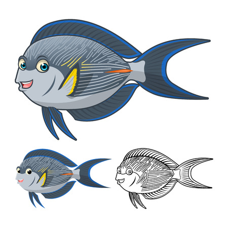 surgeon fish: High Quality Sohal Surgeon Fish Cartoon Character Include Flat Design and Line Art Version Vector Illustration