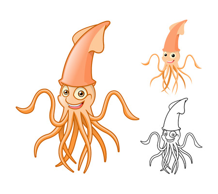 cuttlefish: High Quality Squid Cartoon Character Include Flat Design and Line Art Version Vector Illustration
