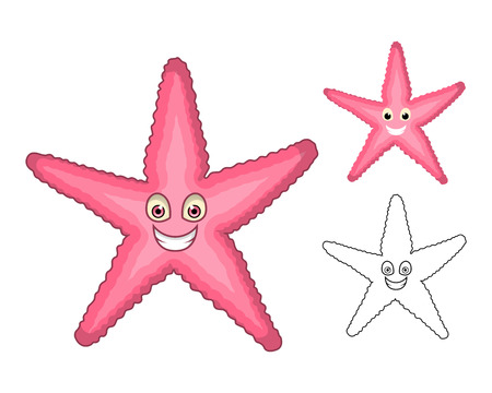 caribbean beach: High Quality Starfish Cartoon Character Include Flat Design and Line Art Version Vector Illustration
