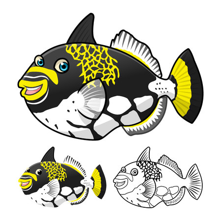 trigger: High Quality Trigger Fish Cartoon Character Include Flat Design and Line Art Version Vector Illustration