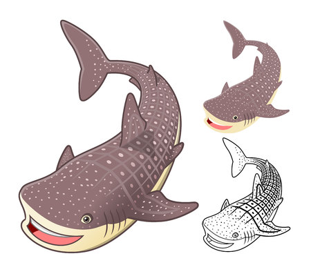 High Quality Whale Shark Cartoon Character Include Flat Design and Line Art Version Vector Illustration