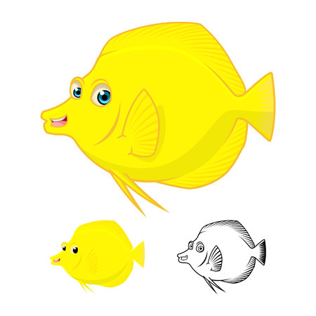tang: High Quality Yellow Tang Fish Cartoon Character Include Flat Design and Line Art Version Vector Illustration