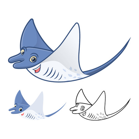 sea creatures: High Quality Manta Ray Cartoon Character Include Flat Design and Line Art Version Vector Illustration