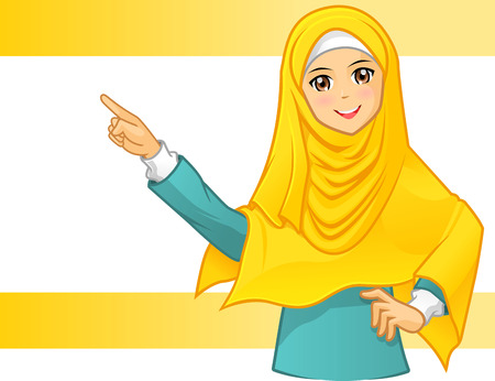 High Quality Muslim Woman Wearing Yellow Veil with Pointing Arms Cartoon Character Vector Illustration