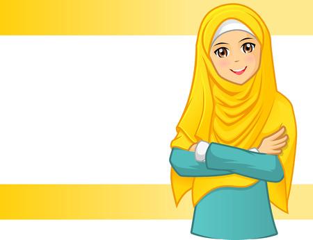 팔짱을 끼고 만화 캐릭터 벡터 일러스트 레이 션과 노란색 베일을 착용하는 높은 품질 무슬림 여성