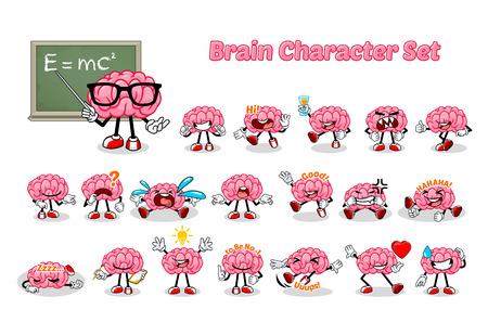 Set of Brain Cartoon Character Vector Illustration