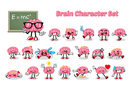 Set of Brain Cartoon Character Vector Illustration