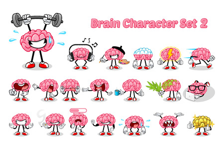 Set of Brain Cartoon Character Two Vector Illustration