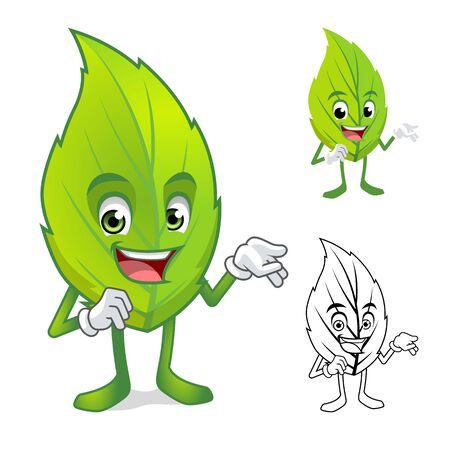 cheerful character: Leaf Mascot with Present Hand Cartoon Character Include with Flat Design and Outlined Version Vector Illustration