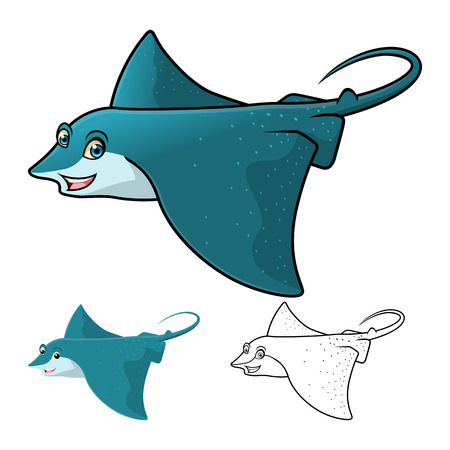 High Quality Eagle Ray Cartoon Character Include Flat Design and Line Art Version Vector Illustration