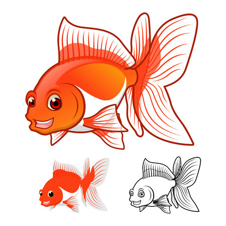 fantail: High Quality Fantail Goldfish Cartoon Character Include Flat Design and Line Art Version Vector Illustration