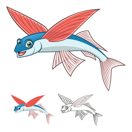 flying: High Quality Flying Fish Cartoon Character Include Flat Design and Line Art Version Vector Illustration