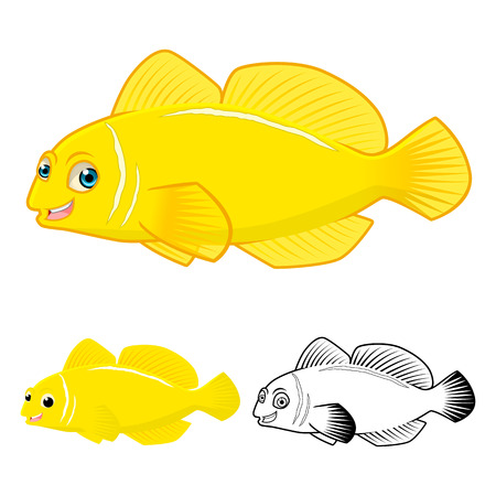 goby: High Quality Lemon Goby Fish Cartoon Character include Flat Design and Line Art Version Vector Illustration