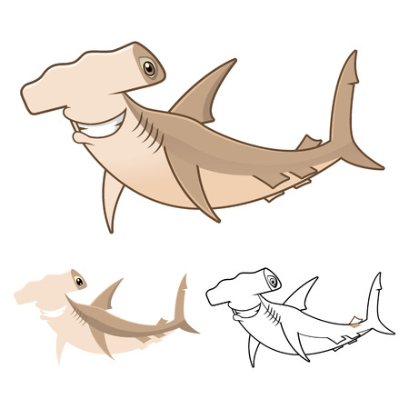 hammerhead: High Quality Hammerhead Shark Cartoon Character Include Flat Design and Line Art Version Vector Illustration