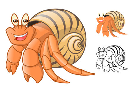 crawling creature: High Quality Hermit Crab Cartoon Character Include Flat Design and Line Art Version Vector Illustration