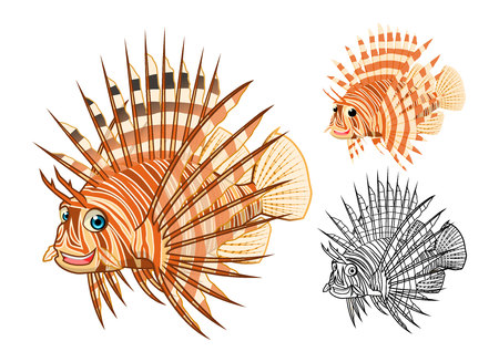 lion fish: High Quality Lion Fish Cartoon Character Include Flat Design and Line Art Version Vector Illustration