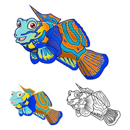 High Quality Mandarin Fish Cartoon Character Include Flat Design and Line Art Version Vector Illustration Vetores