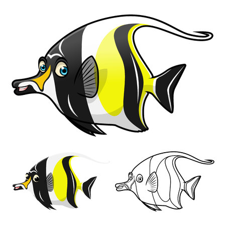 moorish idol: High Quality Moorish Idol Cartoon Character Include Flat Design and Line Art Version Vector Illustration