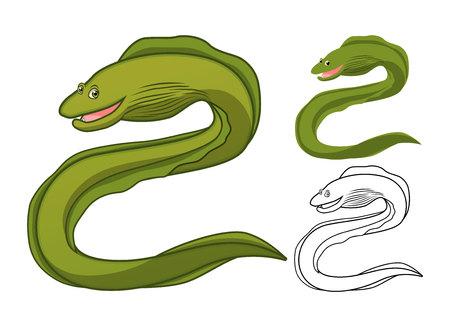 eel: High Quality Moray Eel Cartoon Character Include Flat Design and Line Art Version Vector Illustration