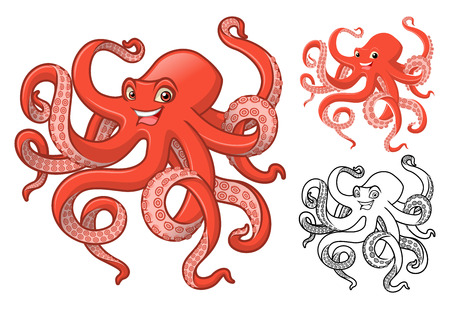 High Quality Octopus Cartoon Character Include Flat Design and Line Art Version Vector Illustration